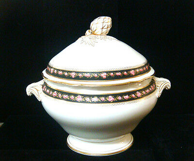 Vintage French Porcelain Hand Painted Roses China - Lg Covered Tureen