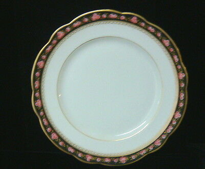 Vintage French Porcelain Hand Painted Roses China - 4 Salad Plates