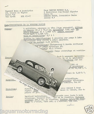 Sunbeam Rapier 1964 Press Release And Photograph French Copy.