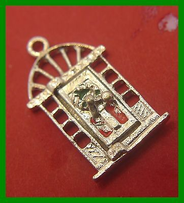 Vintage Christmas Holiday Articulated Charm : Door Opens - Merry Xmas Inside