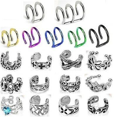 New Fake Ear Cuff Non Piercing Steel Huggie Helix Cuff Clip on UK Seller