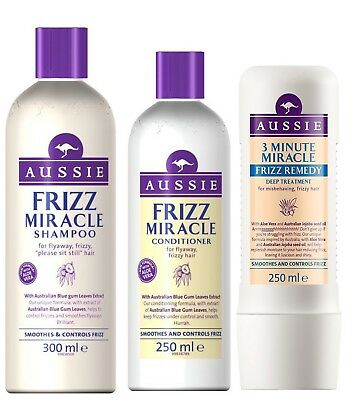 Aussie FRIZZ MIRACLE Gift Set SHAMPOO CONDITIONER & LEAVE IN CONDITIONING SPRAY