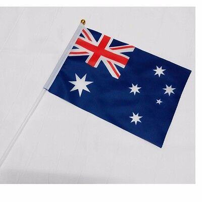 AU Australia HELD STICK Small FLAGS Hand Table Flag Festivals Country