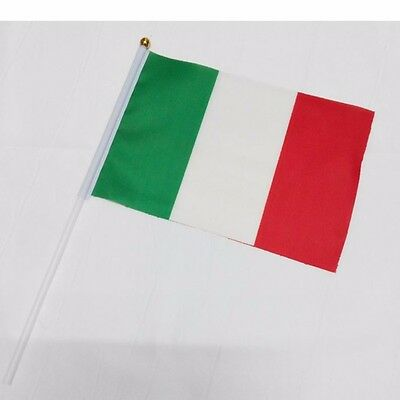 10pc Italy HELD STICK Small FLAGS Hand Table Flag Festivals country Italian deco