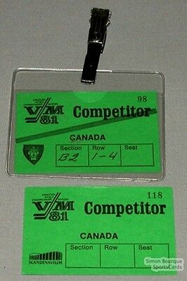 81 World Hockey Championships Lot Of 2 Team Canada Pass