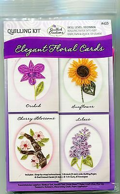ELEGANT FLORAL CARDS Quilling Kit by Quilled Creations Makes 6 Cards+Envys  NEW