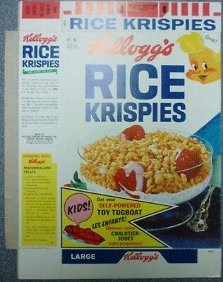 1967 Kellogg's Rice Krispies Toy Tugboat Offer Cereal Box
