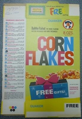 1965 Quaker Corn Flakes Free Gifts Offer Box