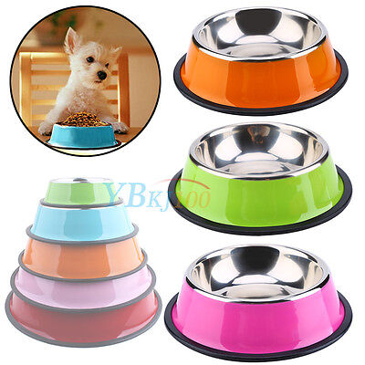 Pets Dog Cat Puppy Anti Skid Stainless Steel Feeding Food Water Bowl Dish 4 Size