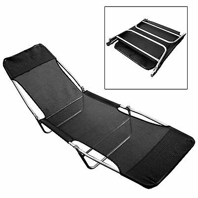 Folding Reclining Go Flat Sun Lounger Garden Chair Camping Textoline Tan Bed