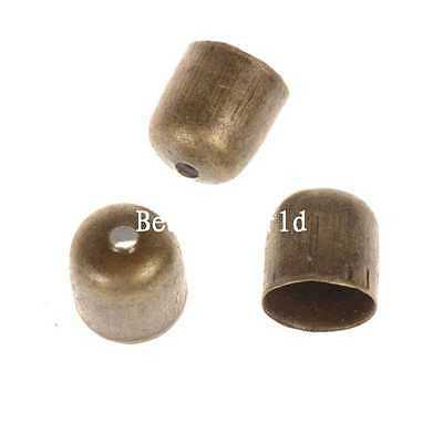 100 Bronze Tone Blunt Necklace End Tip Bead Caps Jewelry Making 8x7mm(Fit 6mm)