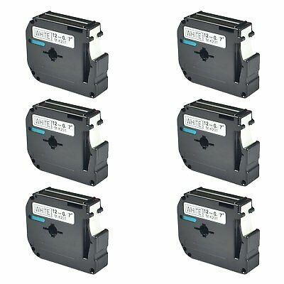 6PK 12mm For Brother P-touch PT-100/110 Label M-K231 M-231 Black on White Tape