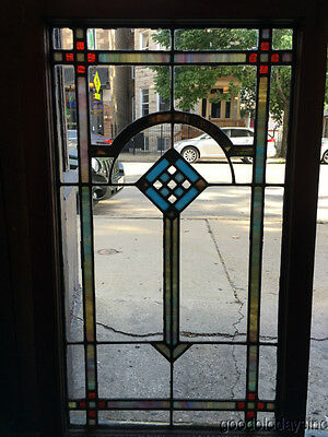 "1 of 4 Antique 1920""s Chicago Stained leaded Glass Window / Door 42"" by 25"""