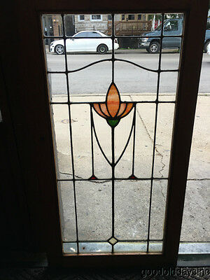 1 of 3 Antique Stained Leaded Glass Oak Wood Bookcase Cabinet Door / Window