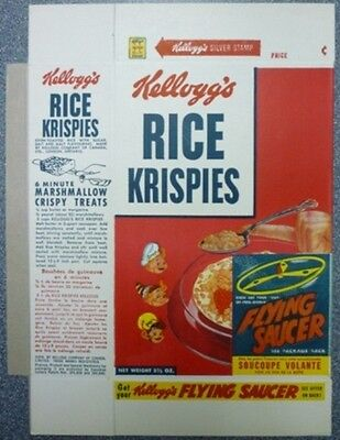 1956 Kellogg's Rice Krispies Flying Saucer Offer Cereal  Box
