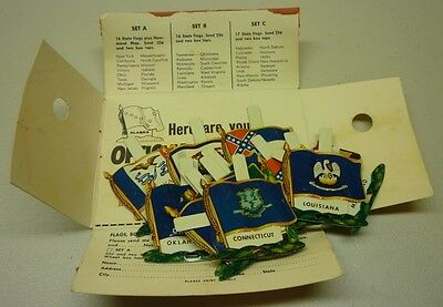1959 Nabisco Shredded Wheat Full 16 Tin State Premium Flags Set B With Holder