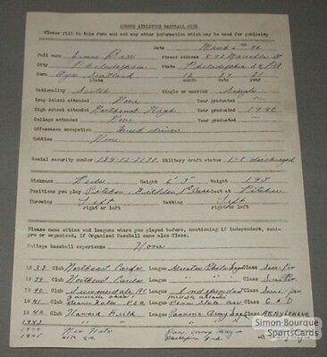 1946 Quebec Athletics Baseball Barr Signed Contract