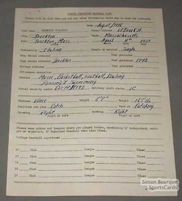 1946 Quebec Athletics Baseball Colombo Signed Contract