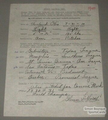 1940 Quebec Athletics Baseball Luthardt Signed Contract