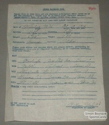 1940 Quebec Athletics Baseball Yorke Signed Contract