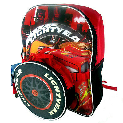 "Disney Cars Lightning Mcqueen Racing Lighyear School 12"" Backpack + Lunch Bag 3+"