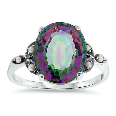 5 Ct HYDRO MYSTIC QUARTZ ANTIQUE DESIGN 925 STERLING SILVER RING SIZE 9.75,  #94