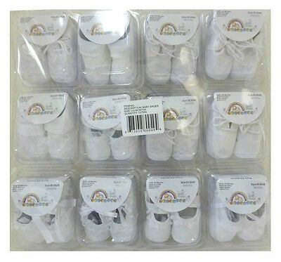 LOT 12 Infant Baptism Baby White Booties Crib Shoes 0-6mo WHOLESALE Boys & Girls