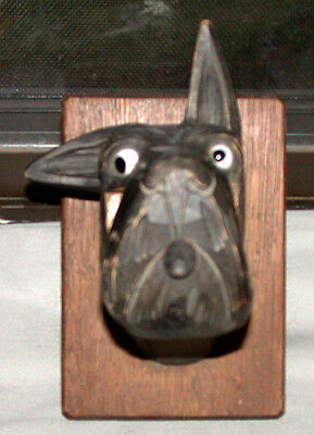 Vintage Black Forest Carved Towell Rack Scottie Dog Head With Glass Eye
