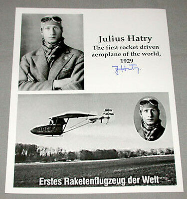 Original Julius Hatry First Rocket Driven Aeroplane of The World Signed Photo