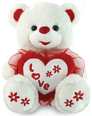 "14"" Teddy Bear Stuffed Animal Plush White Embroidery Red Love Heart Valentine's"