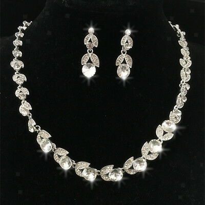 Crystal Rhinestone Necklace And Earrings Gift Jewelry Set For Wedding Bridal