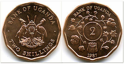 Uganda 1987 2 Shilling 10 Uncirculated Coin Lot (KM28)