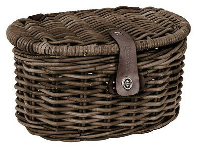 Fastrider Rattan Basket Junior Oval With Lid Wicker Picnic Decorative