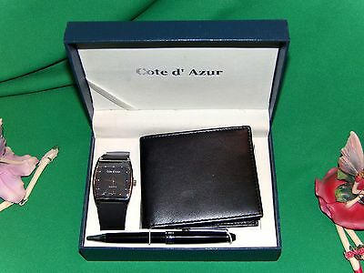 Men's Gift Set by Cote d' Azur Watch, Pen, Leather Wallet in Gift Box Set