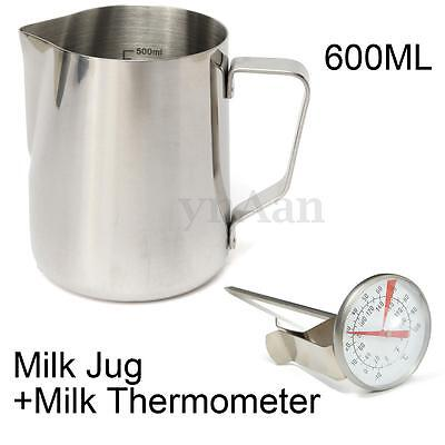 350-900ML Stainless Coffee Milk Frothing Latte Art Jug w/ Scale+ Thermometer Set