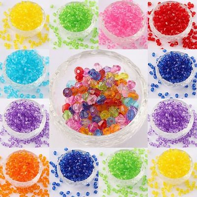 Bulk 1000Pcs Faceted Bicone Plastic Beads Spacer Jewelry Findings 4mm 6mm