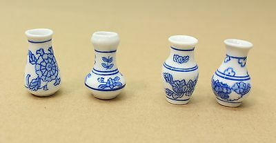 NEW Set of 4 x Dolls House Ceramic Vase Ornaments 1:12 Scale White / Blue