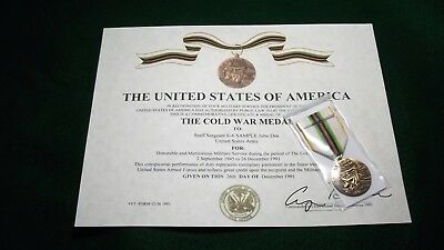 The Cold War Medal, Ribbon & Certificate Army Navy USAF Marines Merchant Coast G
