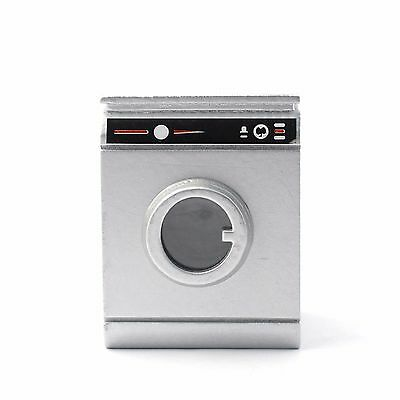 1/12 Scale Dolls House Silver Coloured Washing Machine