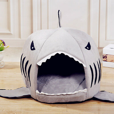 Padded Fleece Grey Shark Pet House Cosy Cave Cat/Dog Bed Kennel Soft & Warm E
