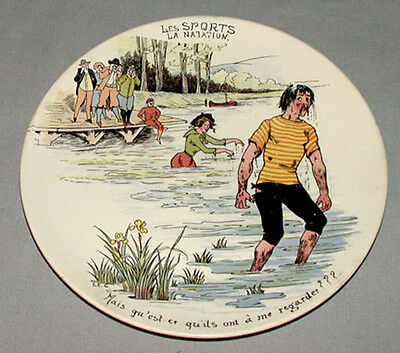 Original 1930`s  Swimming French Sport Serie Pottery Plate