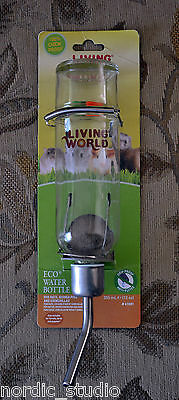 LIVING WORLD HAGEN Small Animal Water Bottle. Chew-proof Glass 12oz 355ml