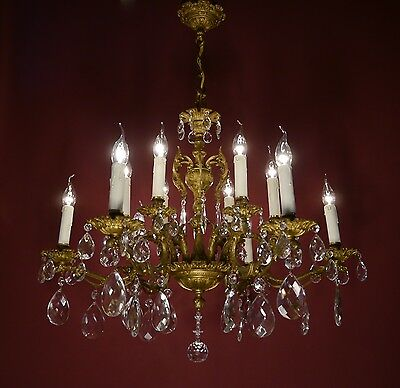 Magnificent Old Brass French Chandelier Crystal Vintage Lamp Ancient Antique