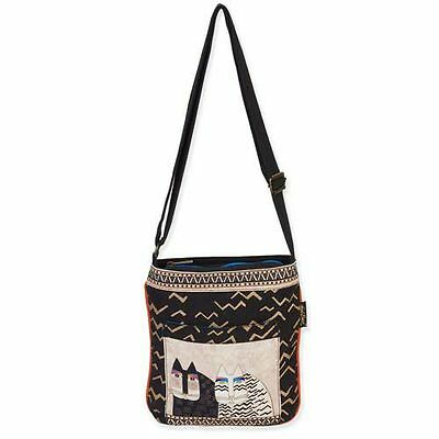 New LAUREL BURCH Crossbody Bag WILD CATS Shoulder Purse CREAM BLACK KITTEN ART