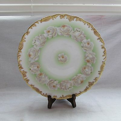 Antique T V France Limoges Gold Trimmed Hand Painted Pink And White Rosed