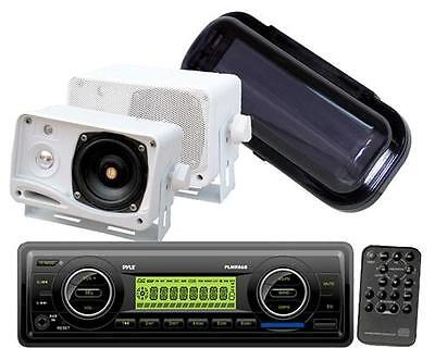 New Marine Boat USB AUX MP3 AM/FM Weather band Radio 2 White Box Speakers +Cover