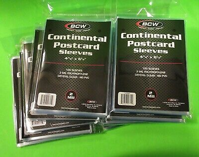 "1000 CONTINENTAL EUROPEAN POSTCARD SLEEVES 4-3/8"" x 6"", ARCHIVAL SAFE, CLEAR"