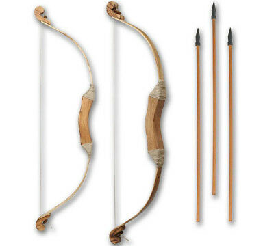 """New Rustic Wooden Bow And 3 Arrows Set Plus Quiver Archery Wood Toy 69Cm / 27"""""""