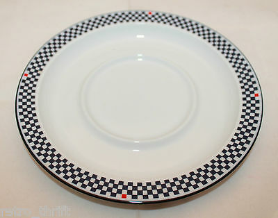 Dansk Bistro Solvang large Saucer Only Replacement Dark Blue Checks 4 Red AS-IS