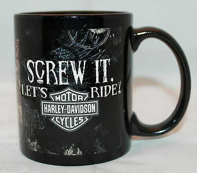 Harley Davidson Motor Cycles Screw It. Let's Ride! Black Logo Coffee Tea Mug Cup